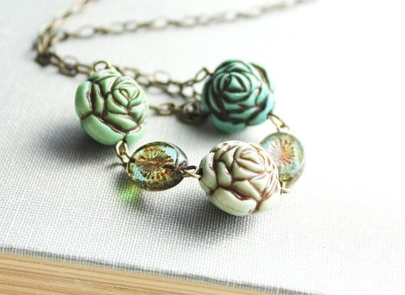 Aqua Green Rose Necklace, Vintage Inspired, Flower Necklace, Glass Bead, Lucite Bead, Mint, Aqua, Teal