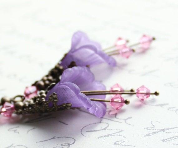 Lilac Flower Earrings, Mauve Dangle, Pink Swarovski, Lavender Purple Drops, Trumpet Flower Earrings, Lucite Earrings, Antique Brass Filigree