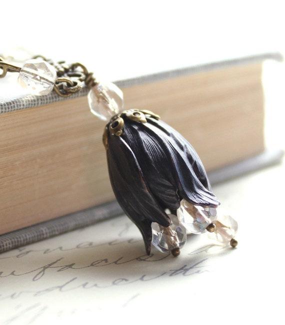 Black Necklace, Brass Flower Jewelry, Tulip Pendant Necklace, Blackened Brass, Long Necklace, Pale Clear Honey, Glass Beads, Floral Jewelry
