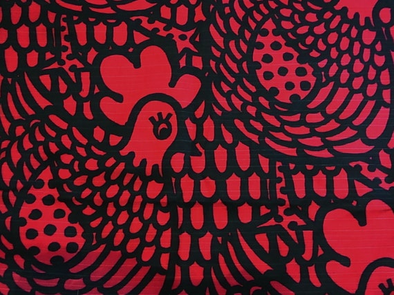 Red chicken print fabric FQ
