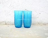 Anchor Hocking Tumblers (pair) Vintage Turquoise