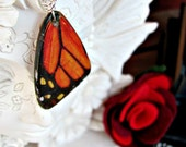 Monarch Wing pendant on silver necklace