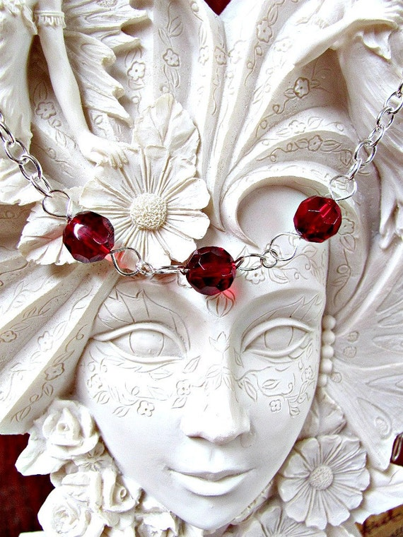 Blood Red Necklace - Glass and Silver