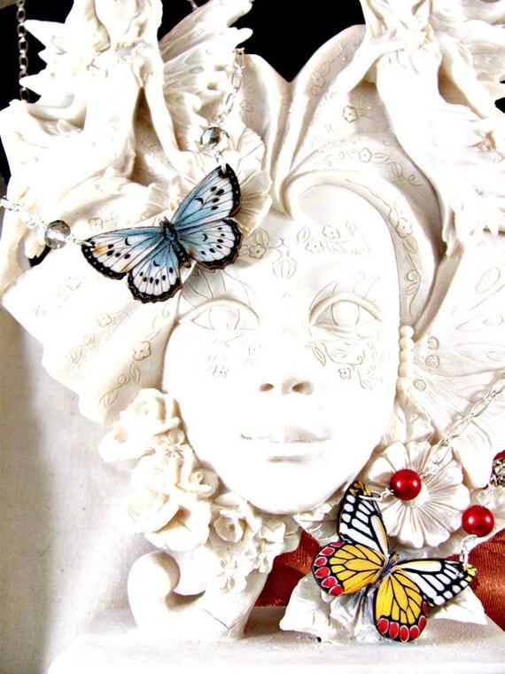 Powder Blue Butterfly with Swarovski crystal on Silver