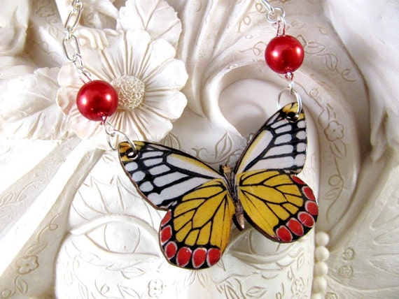 Red and Yellow Butterfly with Red glass Pearls on shiny silver