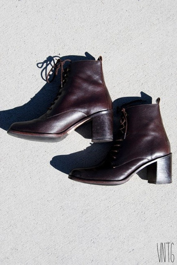 chocolate brown leather lace up heel combat boots size us 8 5