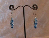 Blue Spiral Swarovski Crystal Earrings