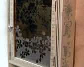 Wall (Medicine) Cabinet Decoratively Painted with Custom Mirror