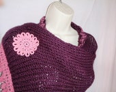 Knit Purple Wrap with Crochet Edging and Handmade Crochet Flowers