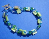 Green and Blue Glass Bead Bracelet