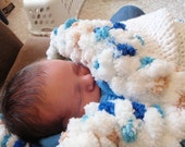 White and Blue Baby Comfort Blanket