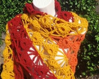Red, Orange, Yellow, and Cream Triangle Shawl