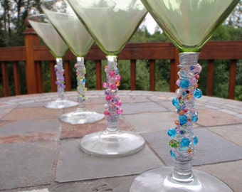 4 Long Stem Wire Wrapped Martini Cocktail Glasses in 4 Different Colors