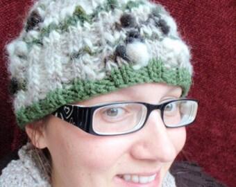 Cowl Beanie Handspun Angora Rabbit Wool Hat
