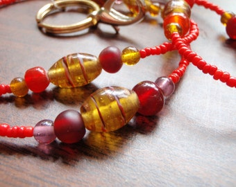 Red and Brown Beaded Lanyard