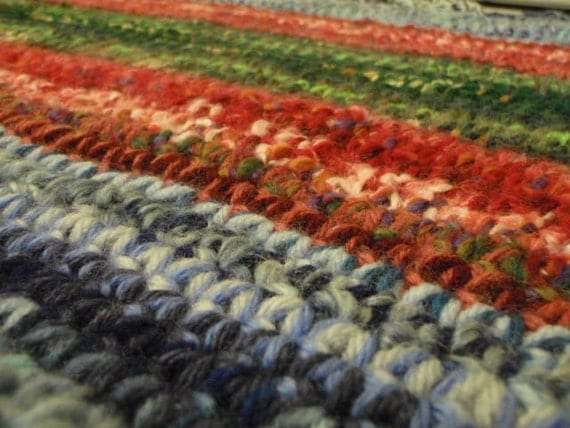 Multicolor Area Rug in Blue Green and Red Crochet Rug