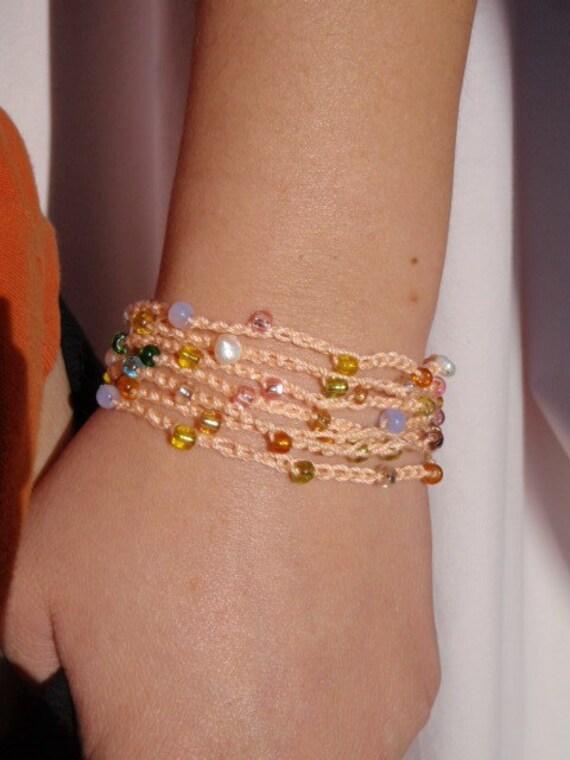 Beaded Crochet Chain in Peach