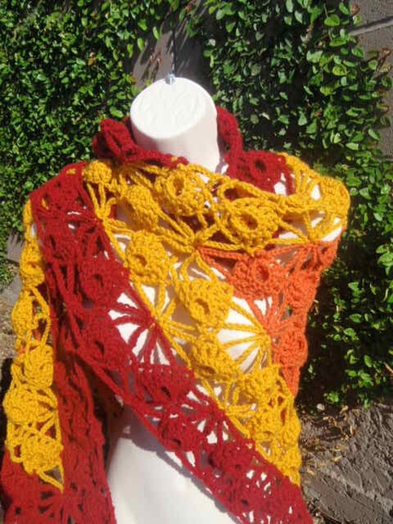 Red, Orange, Yellow, and Cream Triangle Shawl