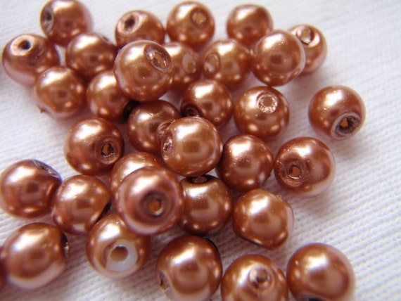 Brass Brown Glass Pearl Beads 4mm 100 Pieces