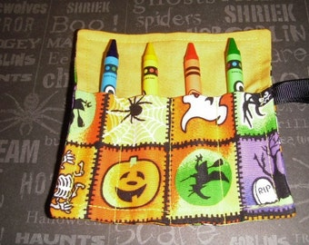 Halloween Mini Crayon Keeper Roll Up Holder 4-Count Party Favor - Ghoulish Friends