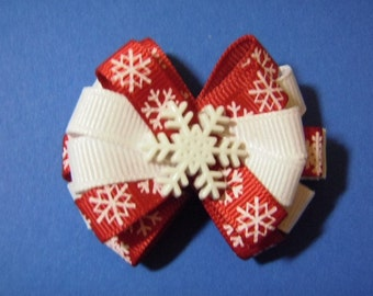 Snowflake in Red Ribbon Flower