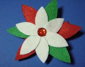 Felt Poinsettia Christmas Flower Hair Clip