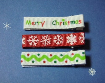 Merry Christmas Set Of 3 Simple Clippies - For Infant Toddler Girl