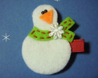 Snowman With Green Scarf Felt Hairbow Clippie