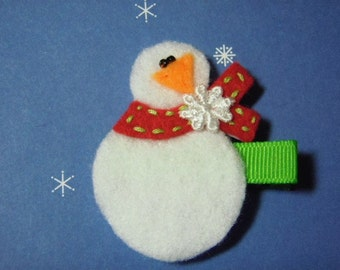Snowman With Red Scarf Felt Hairbow Clippie