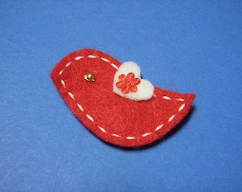 A Love Bird In Red Felt Hairbow Clippie - For Infant Toddler Girl