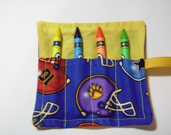 Mini Crayon Keeper Roll Up Holder Party Favor - Football Helmets
