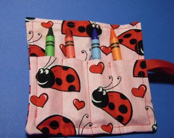 Mini Crayon Keeper Roll Up Holder 4-Count Party Favor - Ladybug Fabric