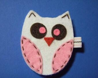 Pink And White Felt Owl Hair Clip - For Infant Toddler Girl