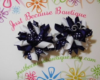 Classic Navy And White Swiss Dot Mini Korker Hairbow Set - For Infant Toddler Girl