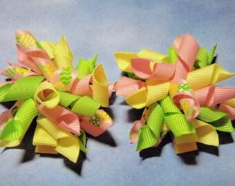 Pastel Easter Egg Mini Korker Hairbow Set - For Infant Toddler Girl