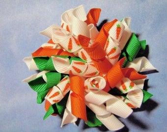 Carrot Easter Korker Hairbow Clip - For Infant Toddler Girl