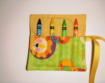 Mini Crayon Keeper Roll Up Holder 4-Count Party Favor - Animal Friends