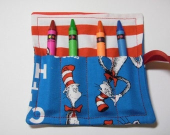 Mini Crayon Roll Up Keeper 4-CountHolder Party Favor - Cat In The Hat Fabric