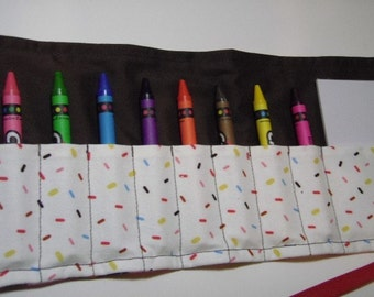 8-Count Crayon Keeper Roll Up Holder w/Pad - Cupcake Surprise