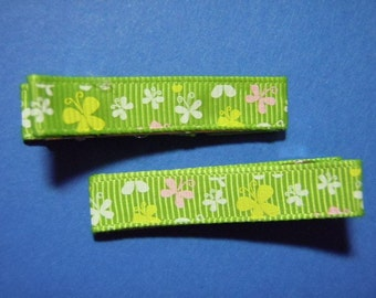 Lime Green Butterflies Simple Hairbow Clippie Set Of 2