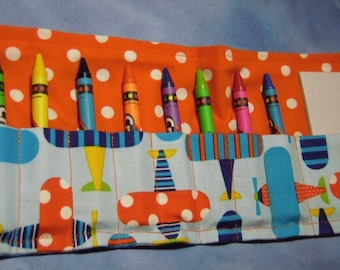 Ready, Set, Go- Airplanes- 8-Count Crayon Keeper W/Pad