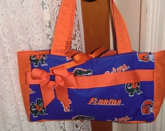 Purse Tote For Girls and Ladies- Made with Florida Gator Fabrc