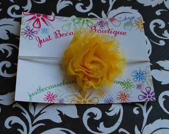Sunny Yellow Chiffon Flower Skinny White Headband--Photography Prop or Baby Shower Gift--Sizes newborn-Adult