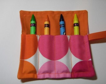 Mini Crayon Keeper Roll Up Holder 4-Count Party Favor - Big Dots In Pinks/Oranges