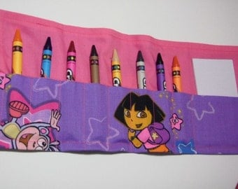 8-Count Crayon Keeper Roll Up Holder w/Pad - Dora fabric
