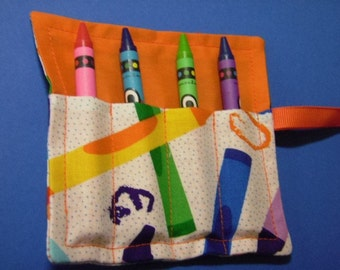 Crayons In Orange Mini Crayon Keeper Roll Up Holder 4-Count Party Favor