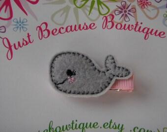 Gray Whale Felt Hair Clip Clippie -- For Infant Toddler Girl