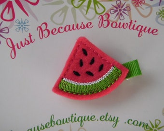 Watermelon Wedge Felt Hair Clip - Clippie - For Infant Toddler Girl