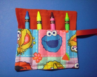 Mini Crayon Keeper Roll Up Holder 4-Count Party Favor - Sesame Street Friends Fabric