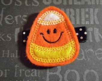 "Halloween Hair Clip Felt Clippie ""Happy Candy Corn""  - For Infant Toddler Girl"